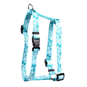 """Teal Lace Flowers Roman Style """"H"""" Dog Harness"""