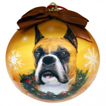Boxer Glossy Round Christmas Ornament **CLEARANCE**