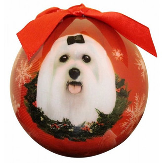 Maltese Glossy Round Christmas Ornament **CLEARANCE**
