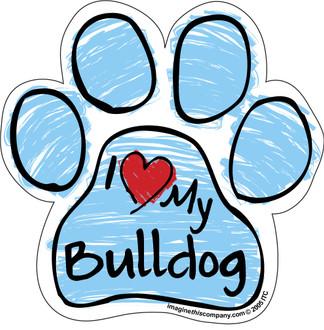 I Love My Bulldog BLUE Scribble Paw Magnet
