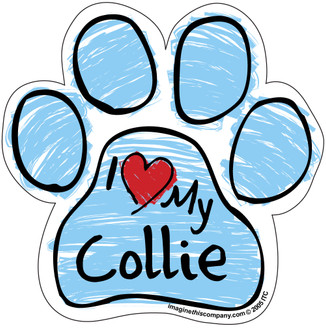 I Love My Collie BLUE Scribble Paw Magnet