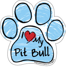 I Love My Pit Bull BLUE Scribble Paw Magnet