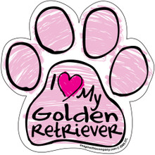 I Love My Golden Retriever PINK Scribble Paw Magnet