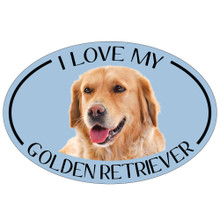 I Love My Golden Retriever Colorful Oval Magnet