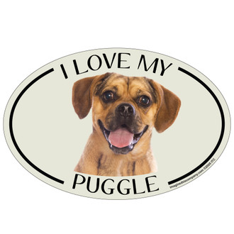 I Love My Puggle Colorful Oval Magnet
