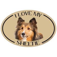 I Love My Sheltie Colorful Oval Magnet