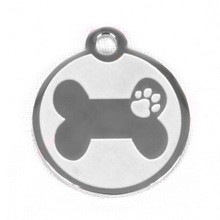 Stainless Steel Bone And Paw Pet ID Tag