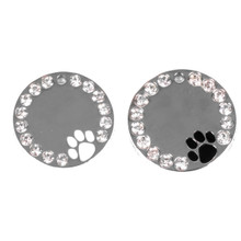 Pawprint and Crystal Engraved Pet ID Tag