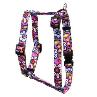 "Pink Garden Roman Style ""H"" Dog Harness"