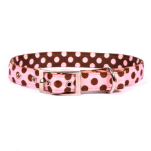 Pink and Brown Polka Dot Uptown Dog Collar