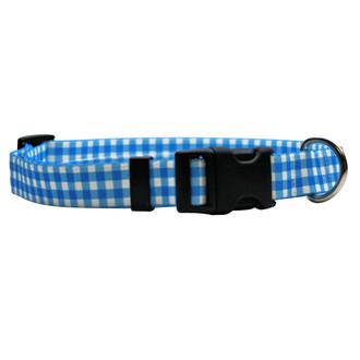 Gingham Blue Break Away Cat Collar