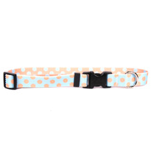 Blue and Melon Polka Dot Break Away Cat Collar