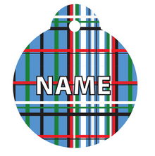 Tartan Plaid Blue HD Pet ID Tag