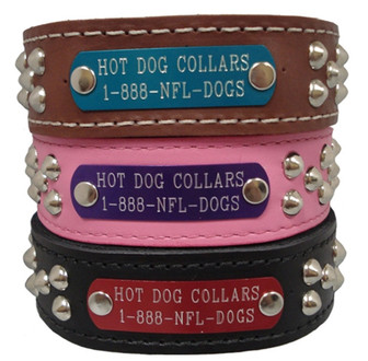 WIDE SmoothStud Name Plate Leather Dog Collars in pink, black, brown, and purple