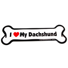 I Love My Dachshund Bone Magnet