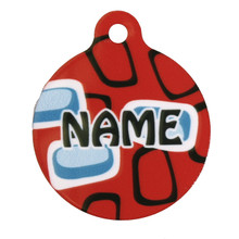 Geometric Red HD Pet ID Tag