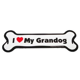 I Love My Grandog Bone Magnet