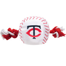 Minnesota Twins Nylon Rope Baseball Squeaker  Dog Toy