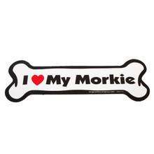 I Love My Morkie Bone Magnet