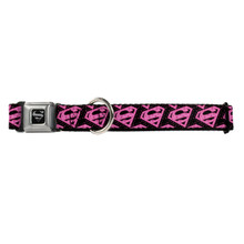 Pink Superman Shield Logo with Hearts Buckle-Down Seat Belt Buckle Dog Collar