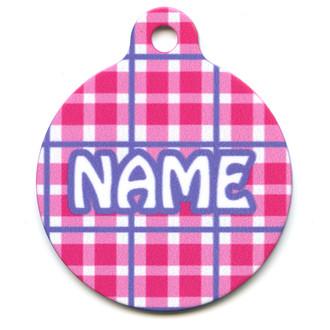 Preppy Plaid Pink HD Pet ID Tag