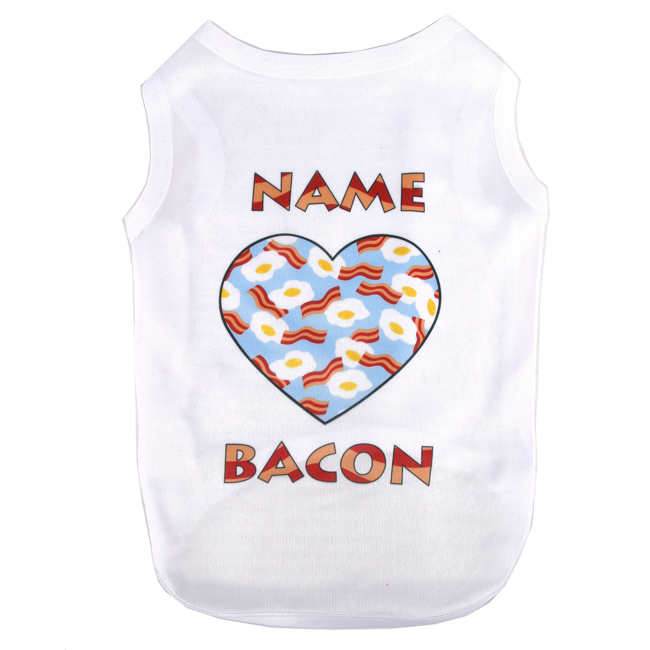 Personalized bacon and eggs pet t shirt hot dog collars for Custom pet t shirts
