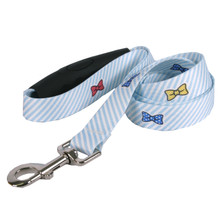 Southern Dawg Seersucker Blue with Bow Ties Premium Dog Leash