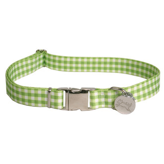 Southern Dawg Gingham Green Premium Dog Collar