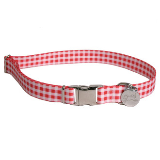 Southern Dawg Gingham Red Premium Dog Collar