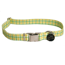 Southern Dawg Gingham Yellow and Green Premium Dog Collar