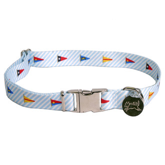 Southern Dawg Seersucker Blue with Multi Flags Premium Dog Collar
