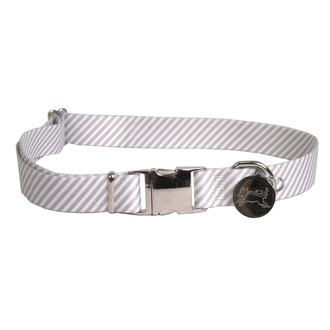 Southern Dawg Seersucker Gray Premium Dog Collar