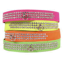 Neon 3-Row Crystal Dog Collar