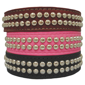2 Row Studded Leather SuperStud Dog COLLAR
