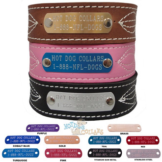 Figure Eight Stitched Name Plate Leather Dog Collar