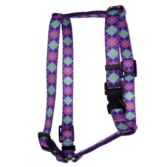 Argyle Purple Roman Style H Dog Harness
