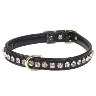 Leather 1-Row Crystal Dog Collar