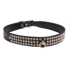 Leather 3-Row Crystal Dog Collar