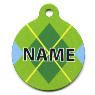 Lime Argyle Plaid HD Pet ID Tag