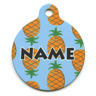 Blue Pineapples HD Pet ID Tag