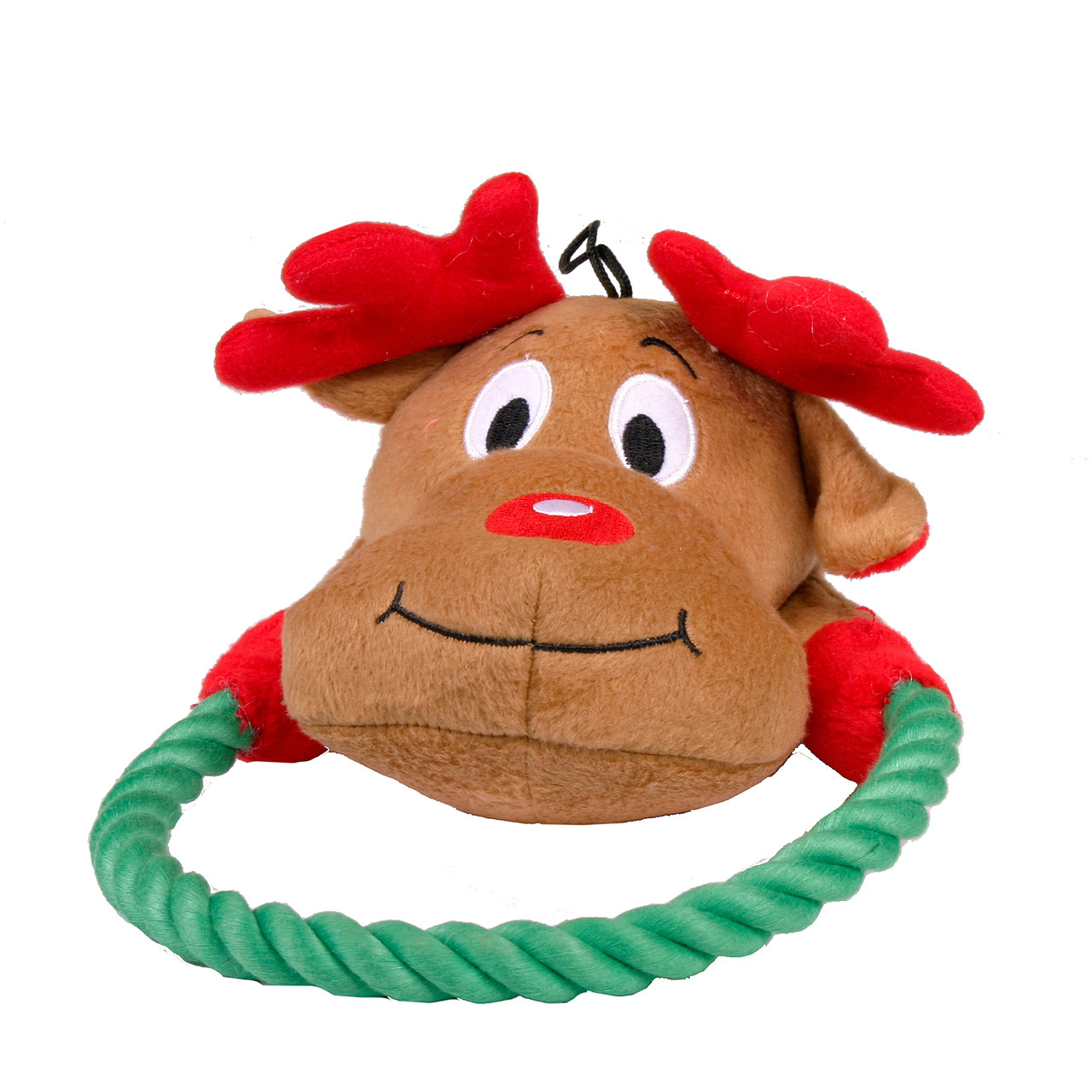 Rope Ring Holiday Reindeer Dog Toy - Hot Dog Collars