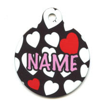 White Hearts HD Pet ID Tag