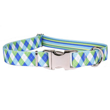 Blue and Green Argyle Premium Metal Buckle Dog Collar