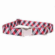 Black Argyle Premium Metal Buckle Dog Collar