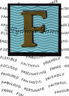Monogram F birthday Card