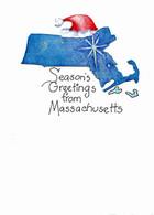 Handmade Massachusetts Christmas card