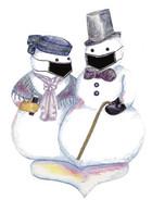 Masked Snowmen Christmas card
