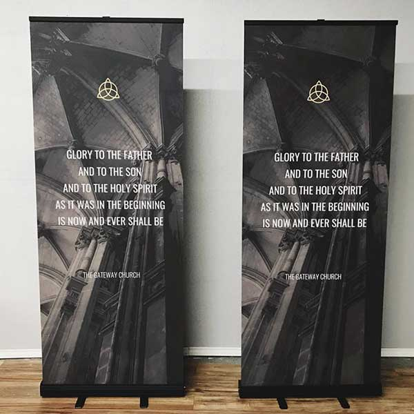 retractable banners with fabric inserts