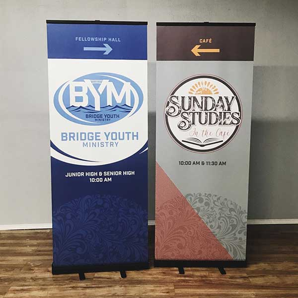 set of 2 banner displays for church