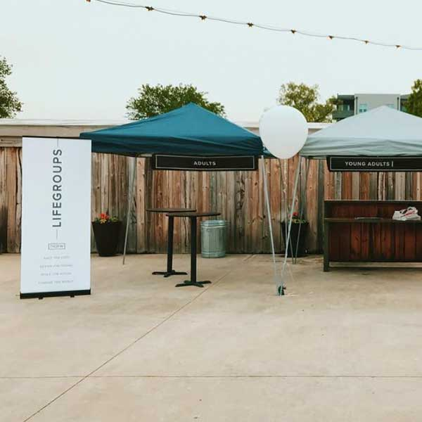 church event tent display